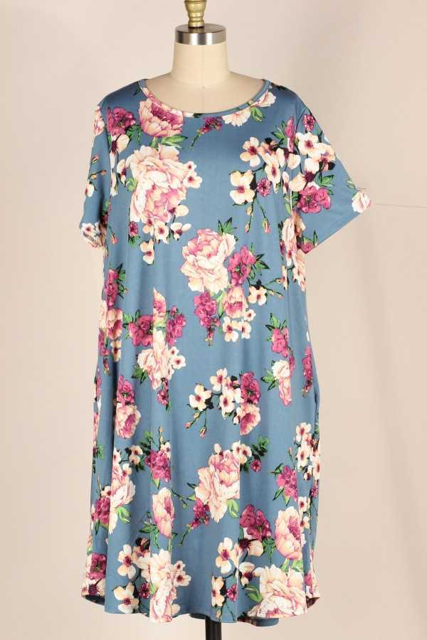 PLUS SIZE FLORAL PRINT DRESS WITH POCKETS
