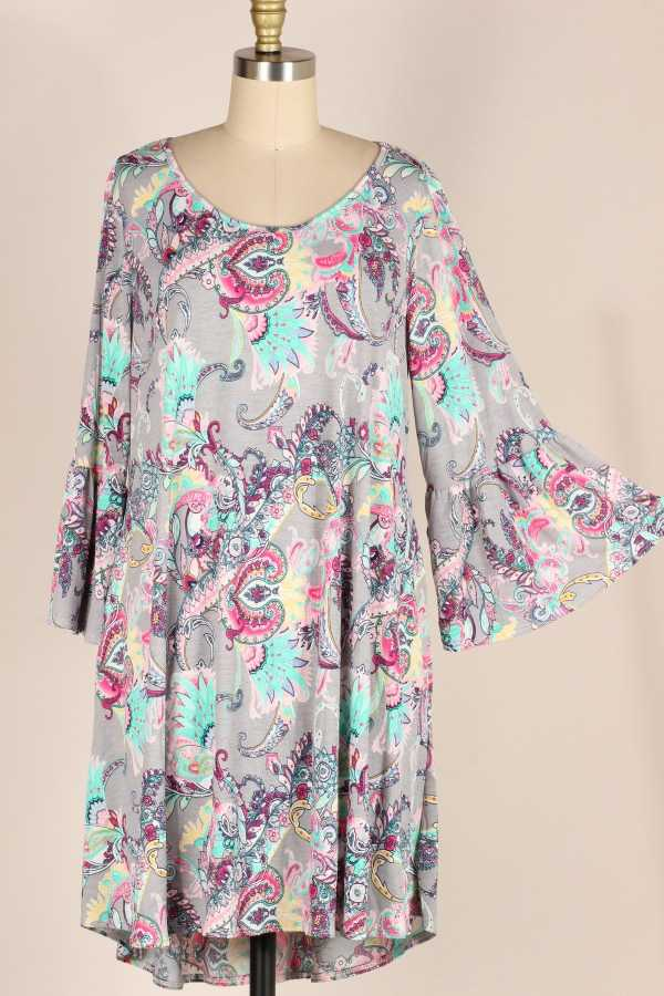 PLUS SIZE-BELL SLEEVE PAISLEY DRESS W POCKETS