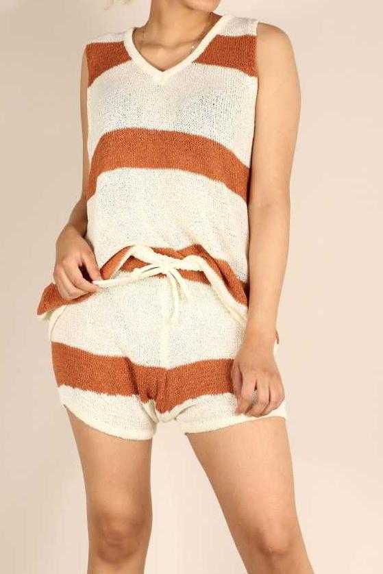 STRIPE KNITTED TOP N SHORTS SET