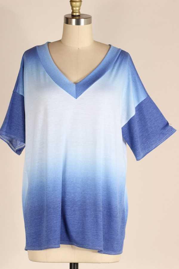 PLUS SIZE-OMBRE PRINT TUNIC TOP