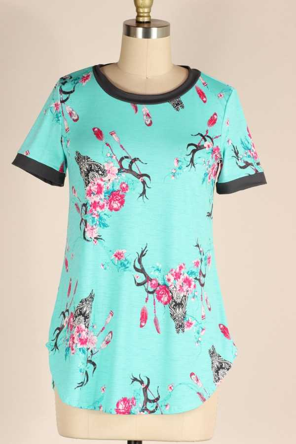 FLORAL PRINT CONTRAST TUNIC TOP