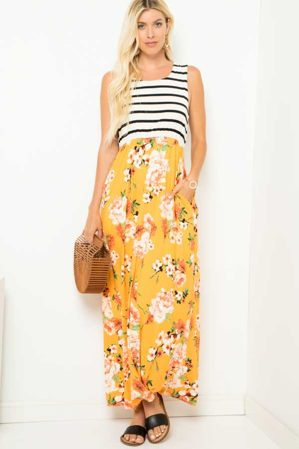 STRIPE AND FLORAL PRINT MAXI DRESS WITH POCKET