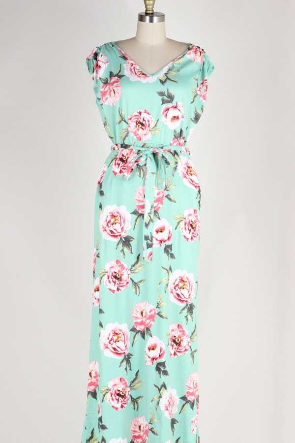 CAP SLEEVE FLORAL MAXI DRESS W POCKETS