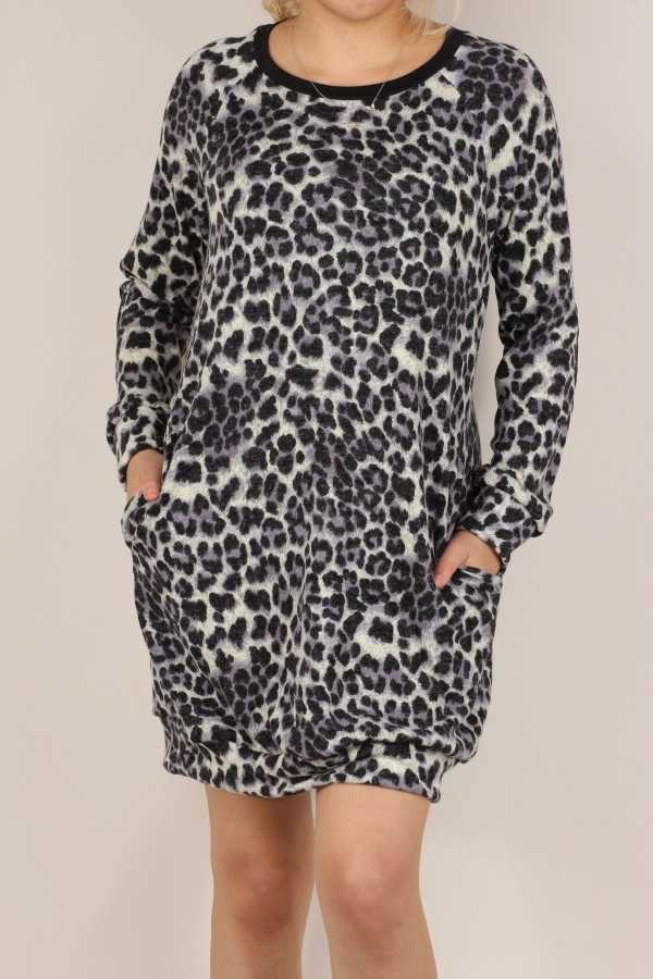 PLUS SIZE-ANIMAL PRINT DETAIL DRESS WITH POCKETS