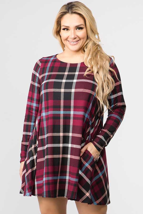 PLUS SIZE LONG SLEEVE PLAID PRINT DRESS WITH POCKETS
