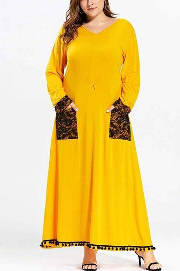FEB 28 PRE ORDER EXTRA PLUS SIZE TASSEL LACE CONTRAST MAXI DRESS