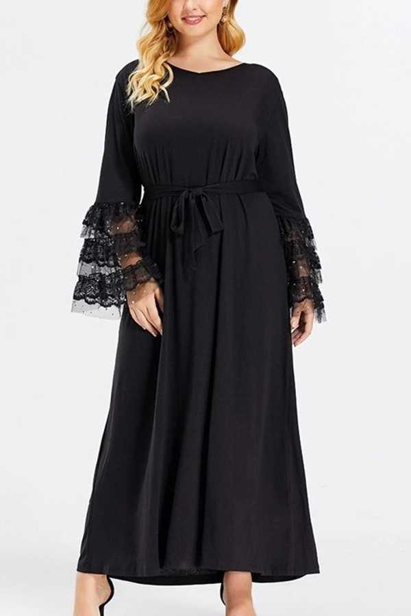 FEB 28 PRE ORDER EXTRA PLUS SIZE LACE SLEEVE SOLID MAXI DRESS