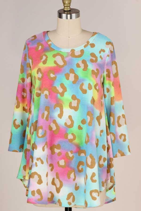 PLUS SIZE-3/4 SLEEVE MULTI COLOR TUNIC TOP