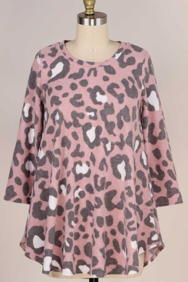 PLUS SIZE-3/4 SLEEVE LEOPARD PRINT TUNIC TOP