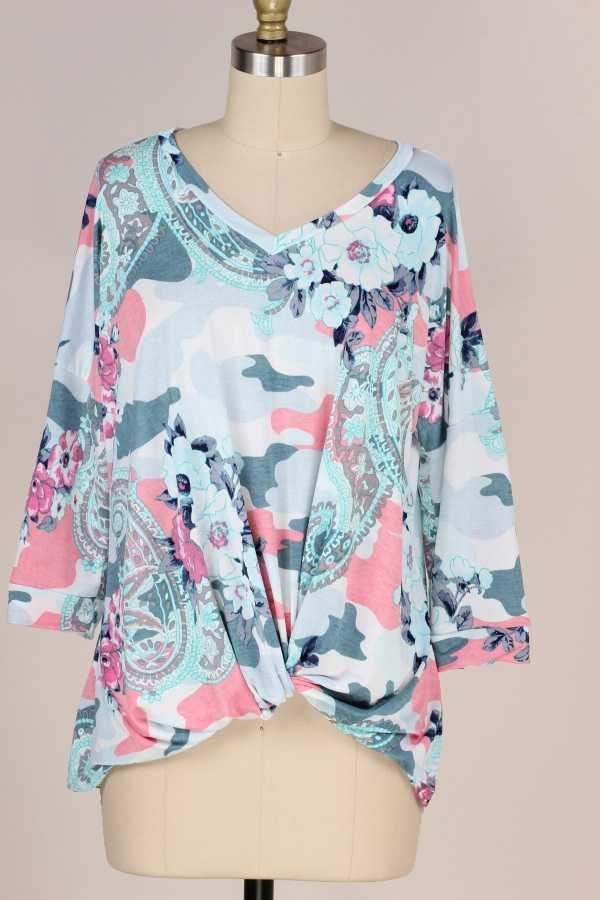 TWISTED HEM FLORAL PRINT TUNIC TOP W 3/4 SLEEVE