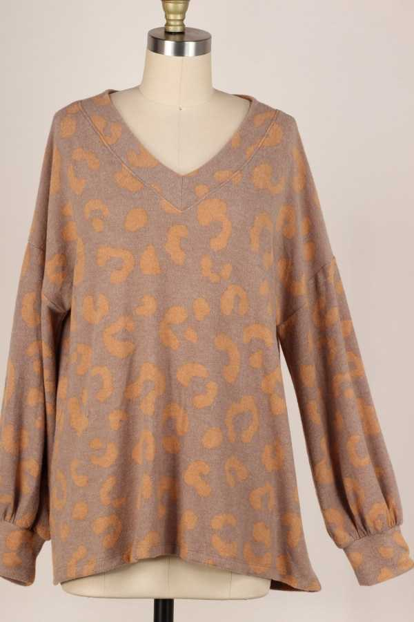 V NECK ANIMAL PRINT TUNIC TOP W PUFF SLEEVE